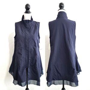 Nanako Parachute High Neck Vest Blue